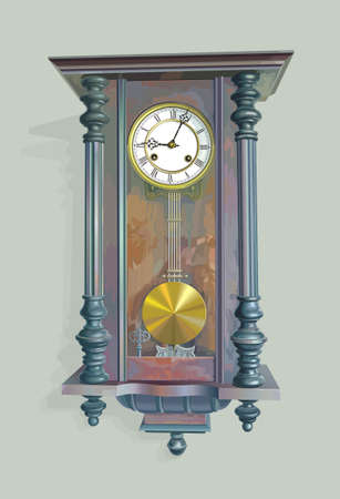 dialplate: Vintage clock with white dial-plate and brass pendulum