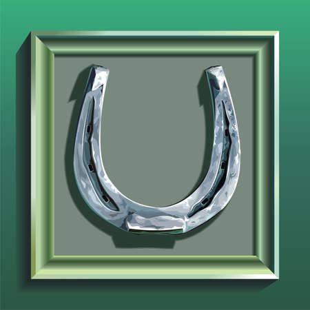 Horseshoe in green frame on green wall photo
