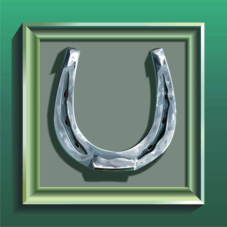 Horseshoe in green frame on green wall Vector