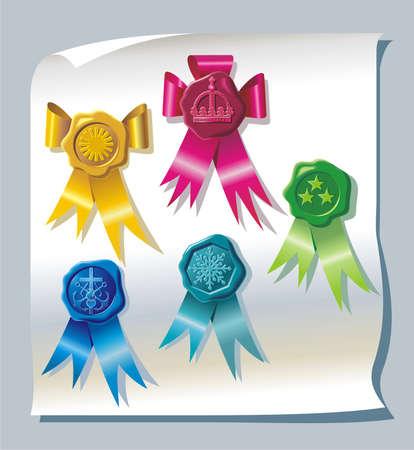 sealing: Sealing wax stamp with ribbons Illustration