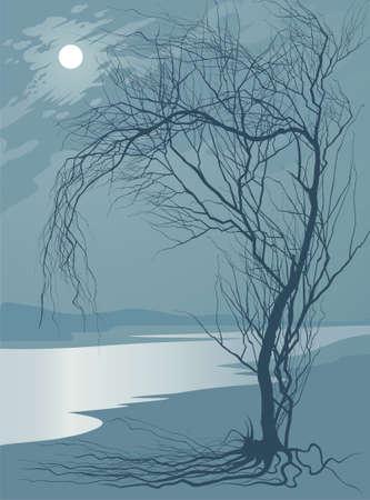 melancholy: Volle maan Stock Illustratie