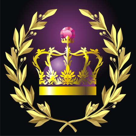 Laurel wreath and crown (vector)