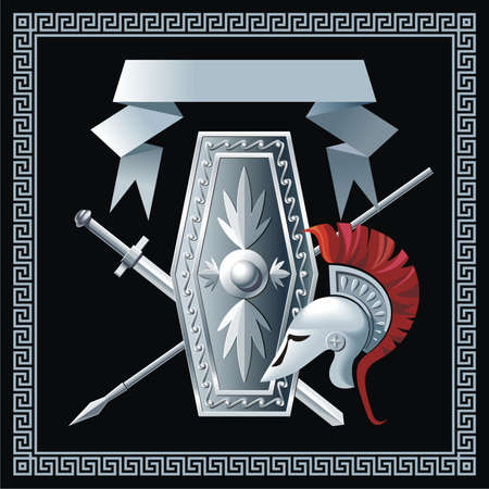 Shield, sword, helmet and spear Illustration