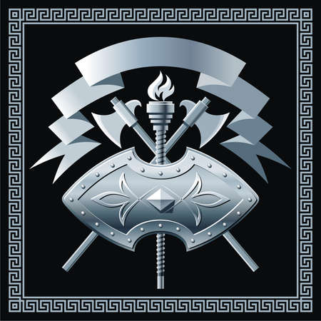 blazonry: Shield with cross battle-axes Illustration