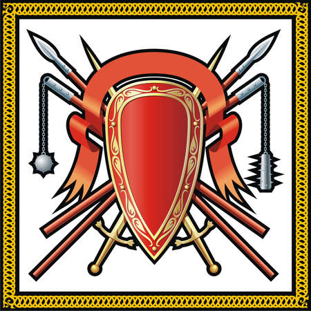 Medieval shield, spears, ribbon and swords Vector