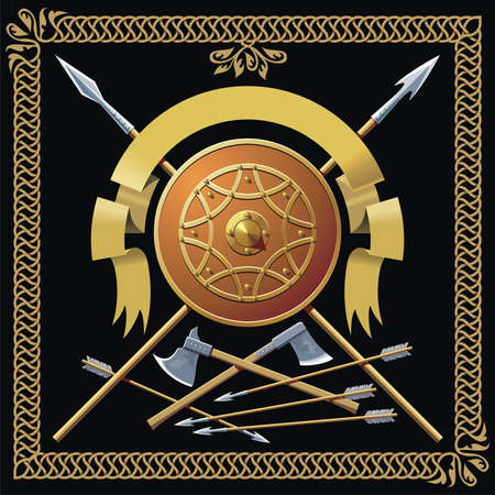 buckler: Medieval buckler, spears, ribbon