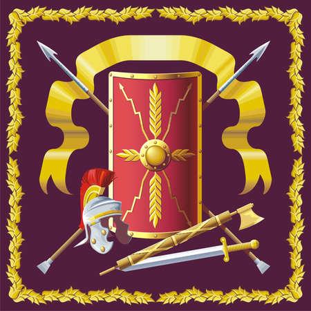 Roman helmet, badge, sword and