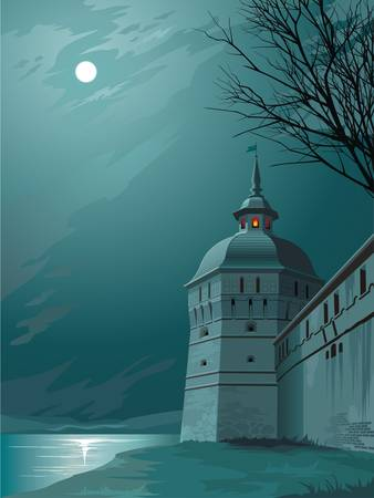 Castle wall and watchtower under the moon Иллюстрация
