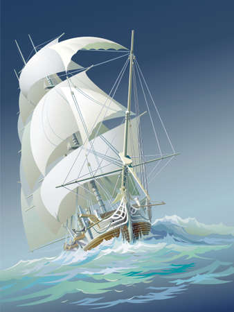 Ocean-going ship under sail and heavy-weather