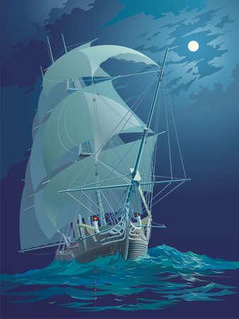 reverberation: Moonlight night, ocean and ship under sail Stock Photo