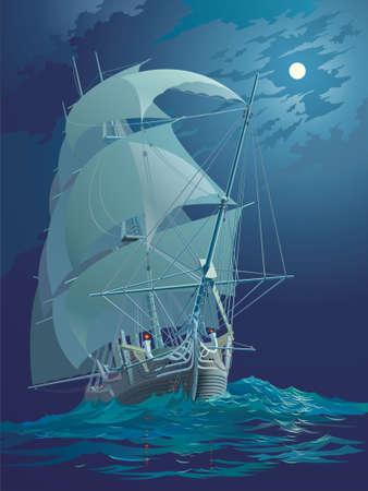 Moonlight night, ocean and ship under sail Vector