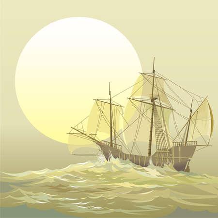Caravel  Santa-Maria Illustration