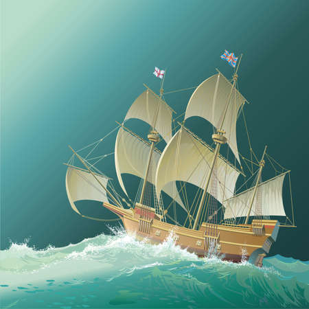 mayflower: Galleon Mayflower Illustration