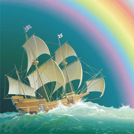 Galleon Mayflower under the rainbow Vectores