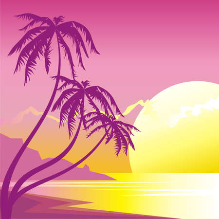 Exotic sunset Vector