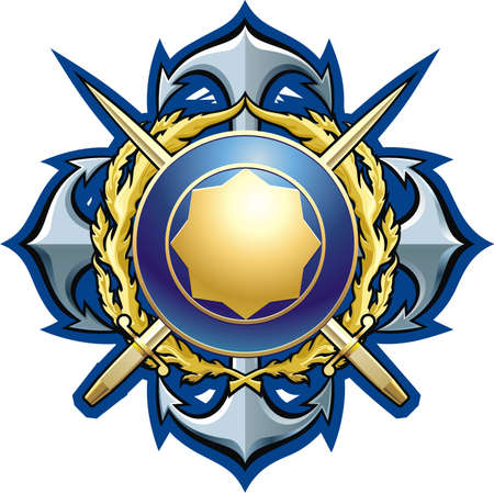 buckler: NAVY style badge cross daggers, anchors and buckler