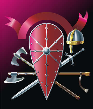 armory: Background with steel-helmet, battle-ax, sword and ribbon