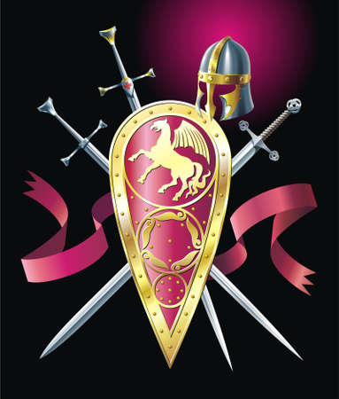 Medieval background with ribbon, swords, helmet and shield Vector