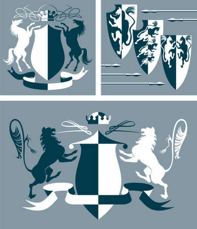 Three illustration with  heraldic vector elements for design