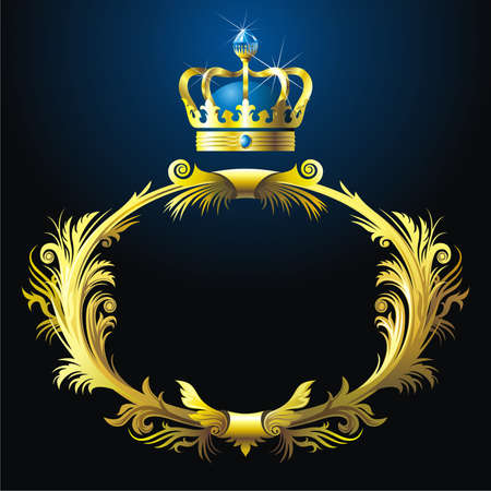 Background with gold  garland and crown