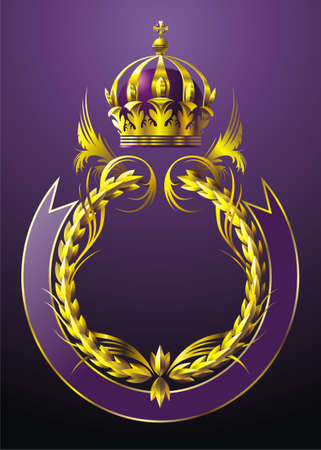 Deep Purple background with garland crown and ribbon