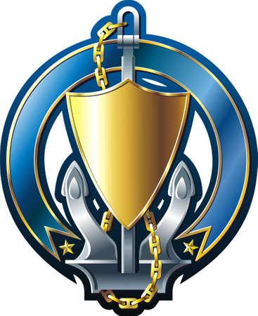 ancre marine: Embl�me de style marine avec ancre or bouclier et ruban  Illustration