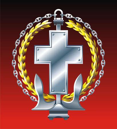 croix de fer: Embl�me de la marine de style avec Croix ancre et cha�ne de fer  Illustration