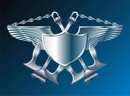 croix de fer: Embl�me avec des ailes de fer traverser les ancres et cha�ne