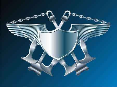 Emblem with iron wings cross anchors and chain Stock Vector - 5532477