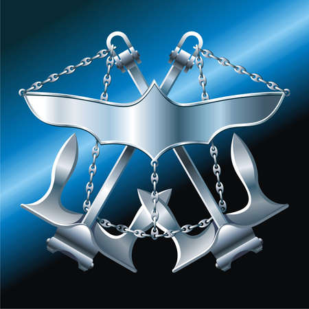 NAVY style  breastplate with iron wings cross anchors and chain Stock Vector - 5532483