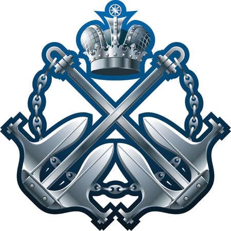croix de fer: Plastron style marine avec la Couronne de fer les ancres et cha�ne