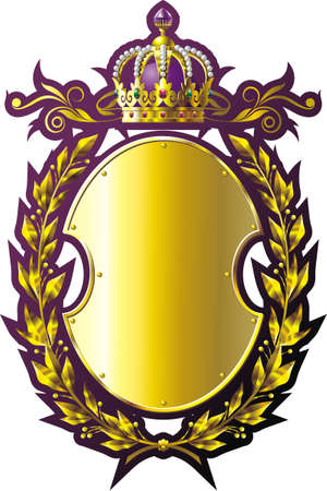 Gold crown, shield and laurel wreath with purple inking