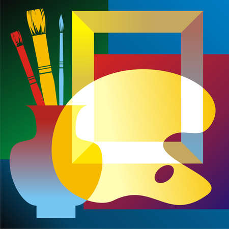 attributes: Still life with artists attributes