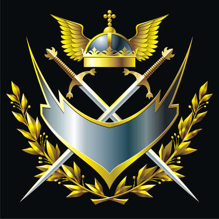 Heraldic composition with badge, winged helmet, branches and crossing swords Illustration