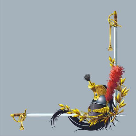 Cuirassiers helmet, two swords and laurel branches Stock Vector - 5532578
