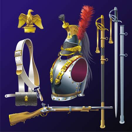 Napoleonic cuirassiers armament. Stock Vector - 5532556