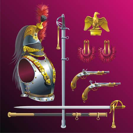 Napoleonic cuirassiers armament.  Vector