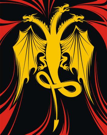 fib: Flying fire-spitting dragon with three heads