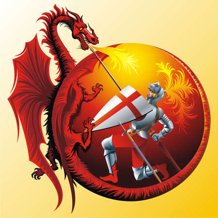 winged dragon: Saint George with fire-spitting winged dragon