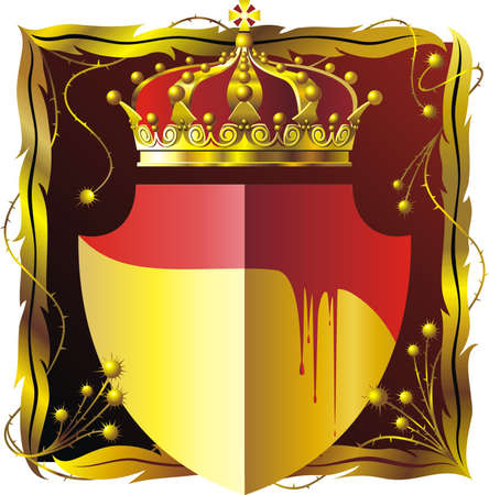 prickles: Sfondo rosso marrone con cornice floreale corona e scudo