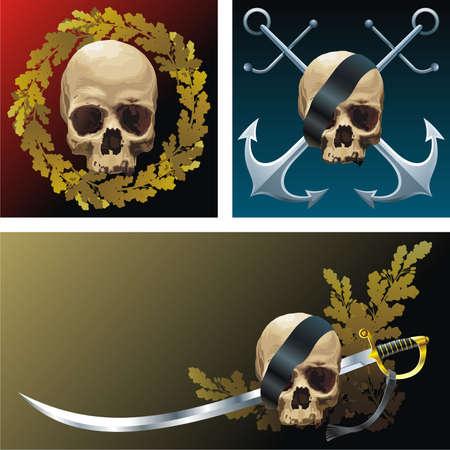 obscure: Tres emblemas de estilo pirata Vectores