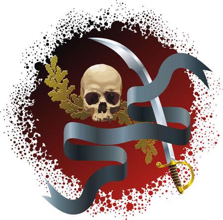 Skull on bloody background Stock Vector - 5563419
