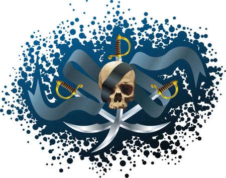 Skull, sabers and ribbon Stock Vector - 5563417