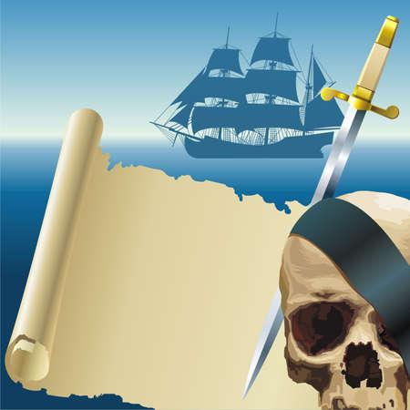 calavera pirata: Pergamino Pirata Vectores