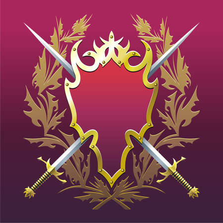 Background with cross swords, badge  and branches. Illustration