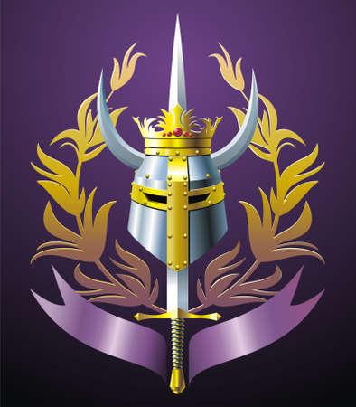 Steel helmet, sword, crown, branches and ribbon. Vector