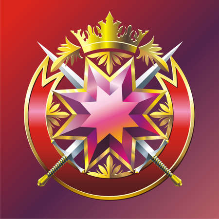 Badge with star, swords, crown, ribbon and branches. Vector