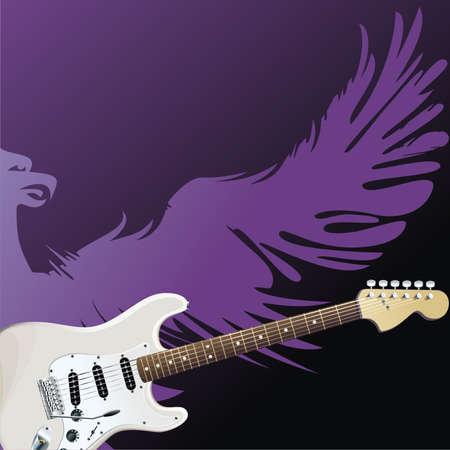 fret: Purple eagle and white guitar on black background. Illustration