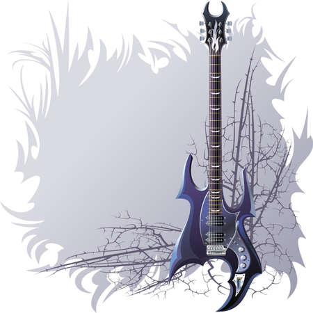fretboard: Background with black guitar and spiny branches.