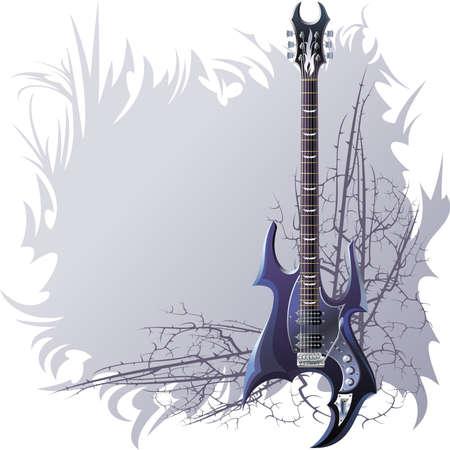 prickles: Sfondo nero con la chitarra e rami spinosi.